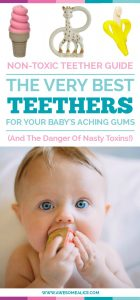 Here are some fun & non-toxic teething toys for your baby. Every teething toy is BPA free. Click to read what you can do to soothe your baby's aching gums from teething pain.