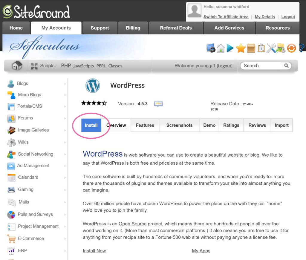 How To Start a Money Making Blog: Lets install wordpress