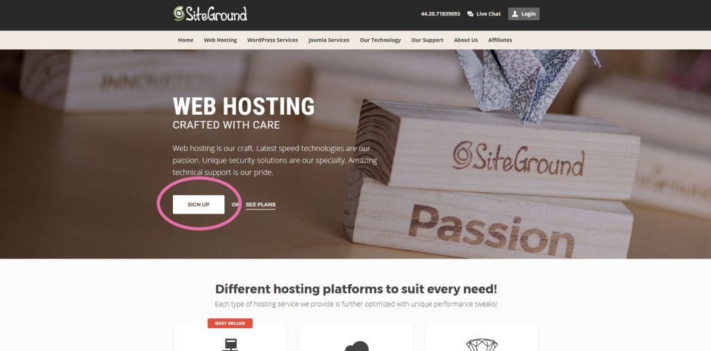 How To Start a Money Making Blog: Sign up with siteground