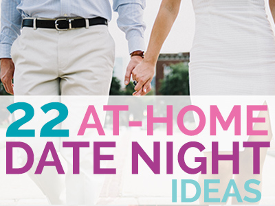The kids are tucked into bed and sound asleep. What do you do? Here are 22 fun, cheap and totally doable date night ideas that you can have at home