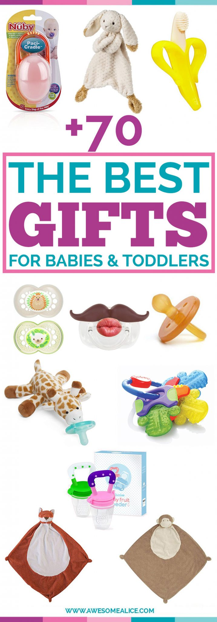 Non-Toy Gift Guide For Babies And Toddlers | Christmas Gifts For Babies | Perfect Christmas Gift For Babies | The Best Toddler Non-Toy Gifts | The Best Baby Pacifiers | Toddler Christmas Gift Guide | The Best Kids Gift Guide | Holiday Gifts For Children | #non-toy | #babies | #Christmas | www.awesomealice.com