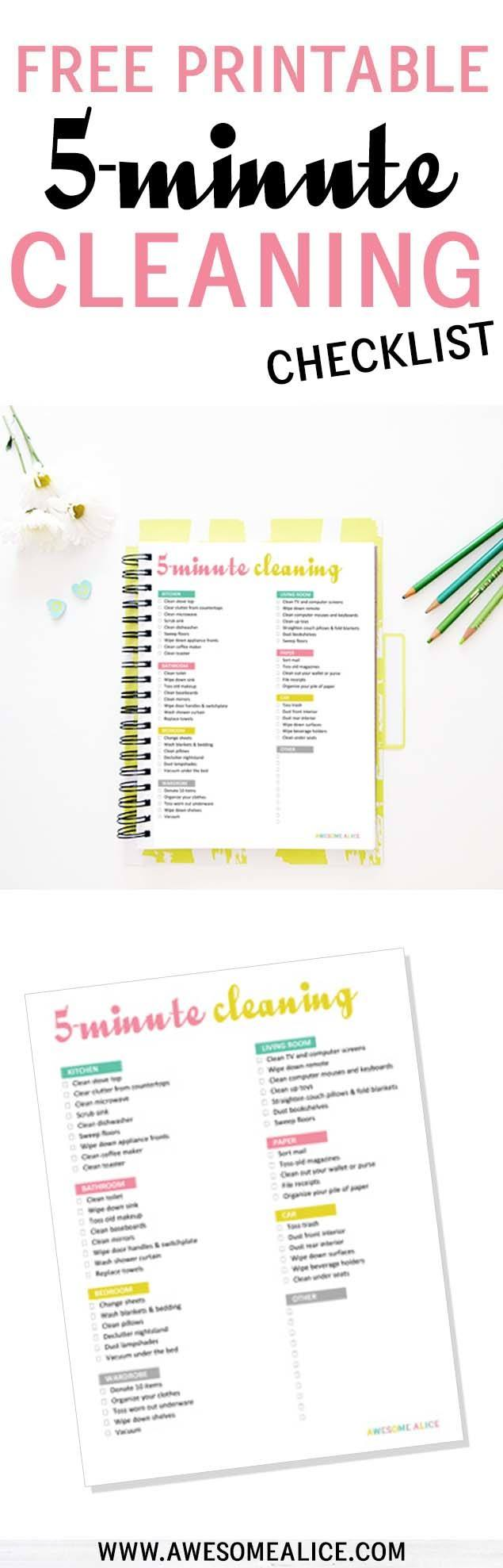 image relating to Printable Cleaning Schedule for Working Moms known as The Least complicated Free of charge 5-Second Cleansing List for Active Mothers