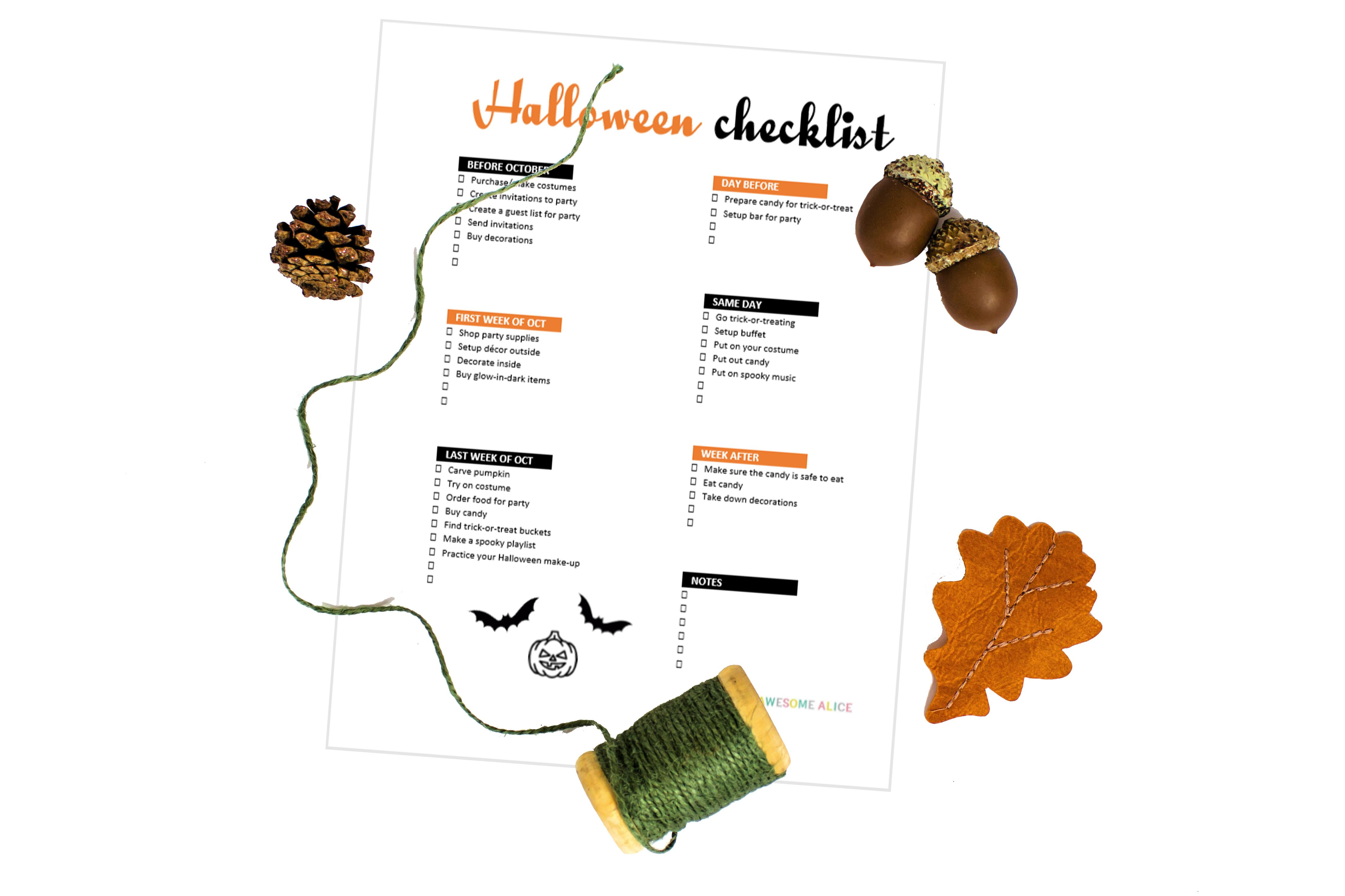 free halloween checklist that will keep you organized