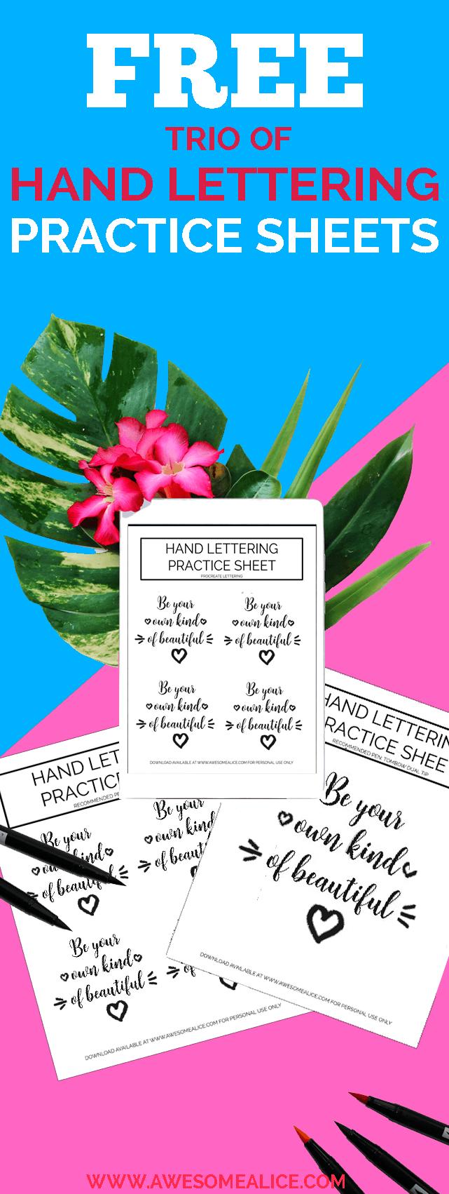 Free Set of Motivational Brush Lettering Worksheets