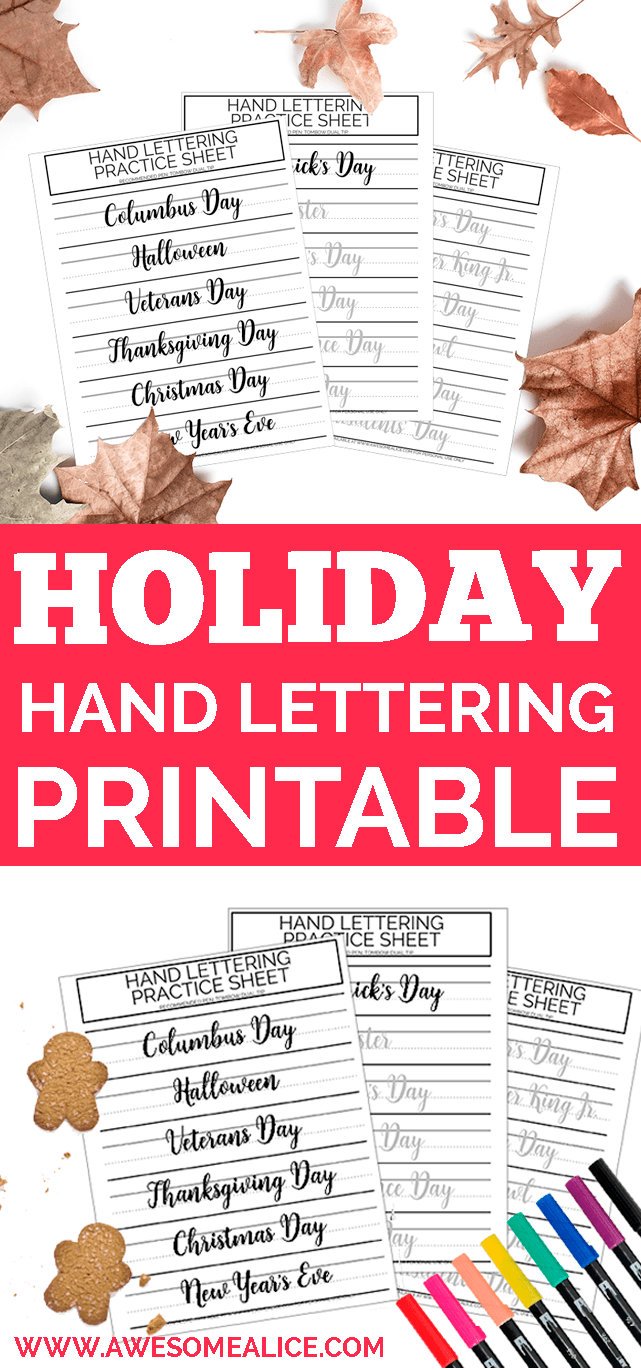 holidays brush lettering worksheets a trio of hand lettering practice sheets for use with your