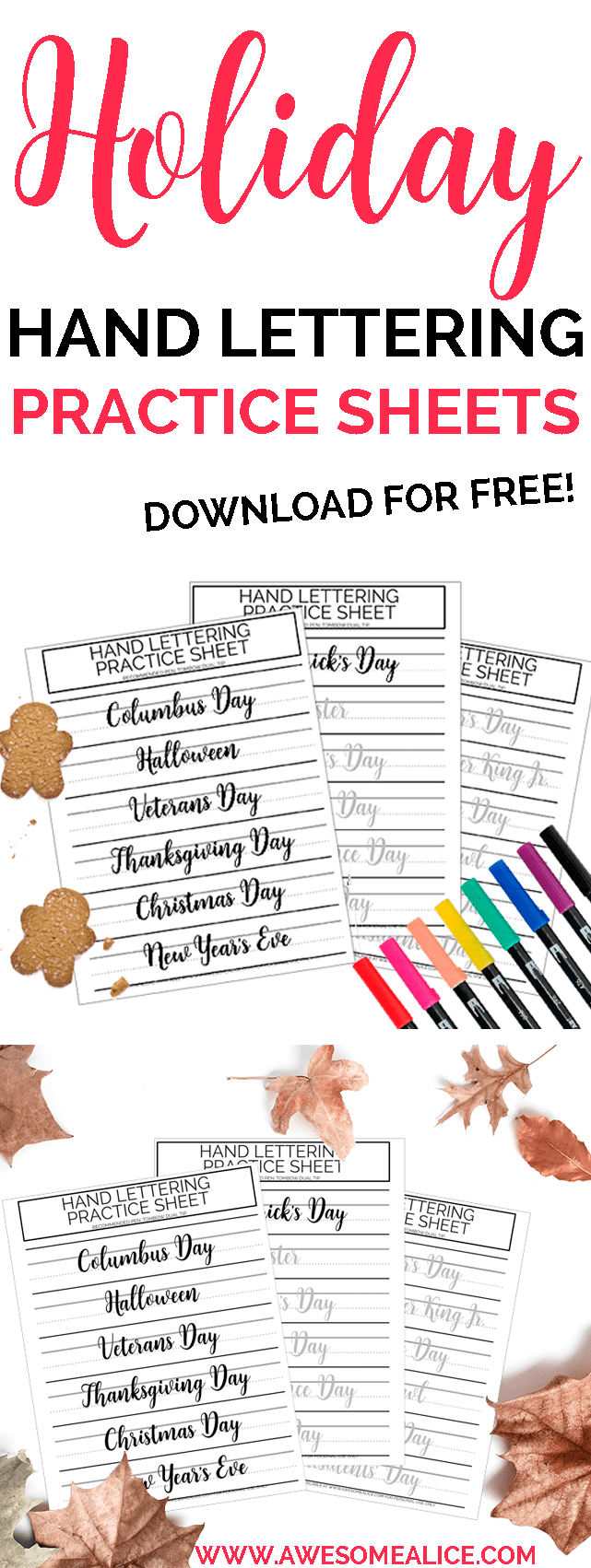 picture about Brush Lettering Practice Sheets Printable titled Totally free Printable Holiday seasons Lettering Educate Sheets Incredible