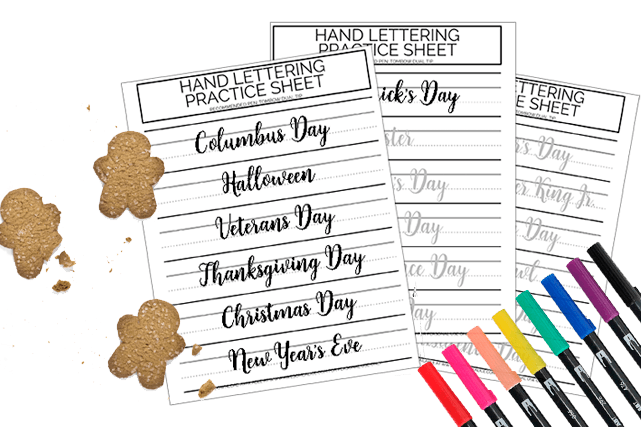 Free Printable Holidays Lettering Practice Sheets | Awesome