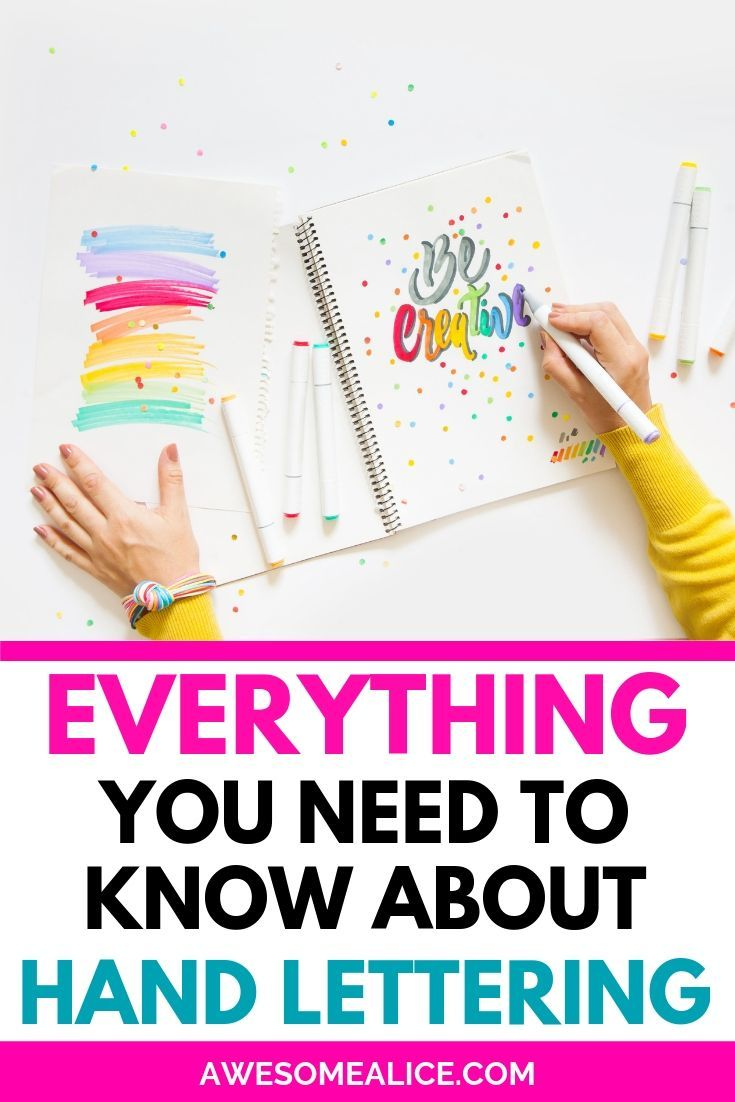 Everything you need to know to learn hand lettering. The best guide for hand lettering beginners. Best brush pens, free printables, easy lettering tutorial. #handlettering #brushlettering #tutorial #freeprintables #practicesheets www.awesomealice.com