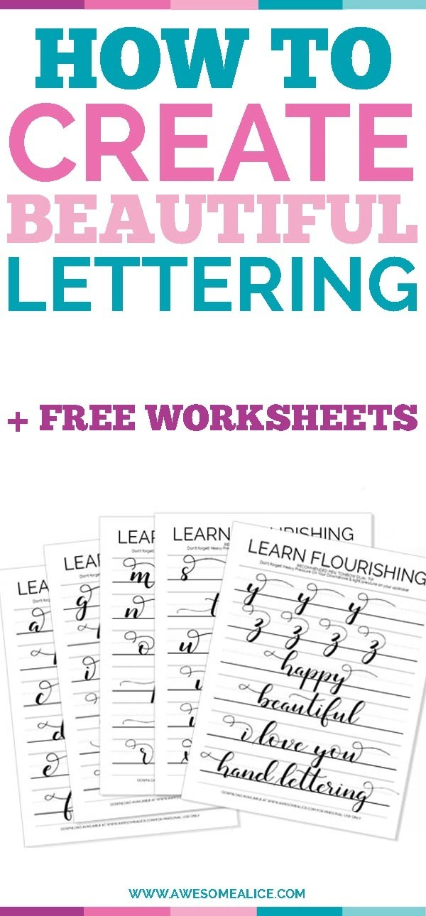 photograph regarding Lettering Printable referred to as The Easiest Absolutely free Hand Lettering Alphabet Teach Sheets