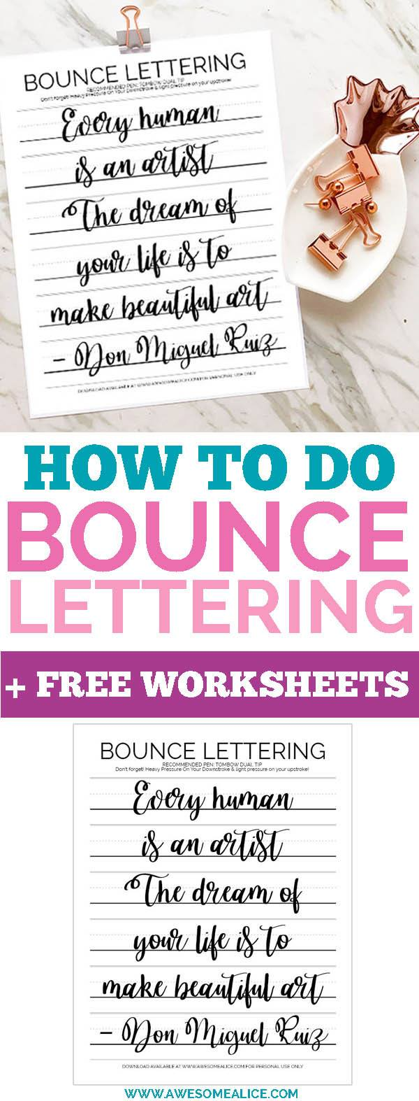 How To Do Bounce Lettering + Free Practice Sheet | Awesome Alice
