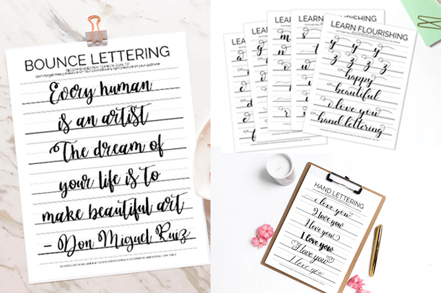 picture about Brush Lettering Practice Sheets Printable identified as The Most straightforward 11 Hand Lettering Train Sheets for Cost-free