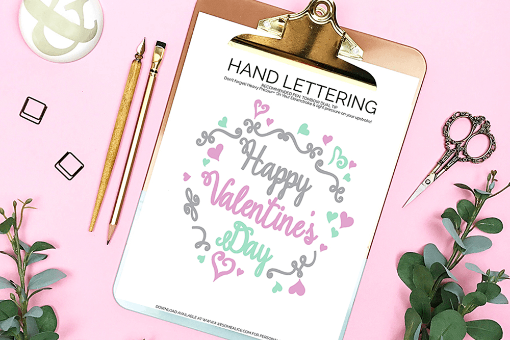 Download this FREE Hand Lettering Practice Sheet For Valentine's Day so you can create a beautiful brush lettered gift for your sweetheart this year!