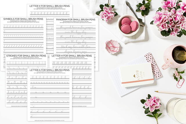 30 Worksheets for Small Brush Pens. Download these free hand lettering practice sheets and practice writing letters, numbers and symbols