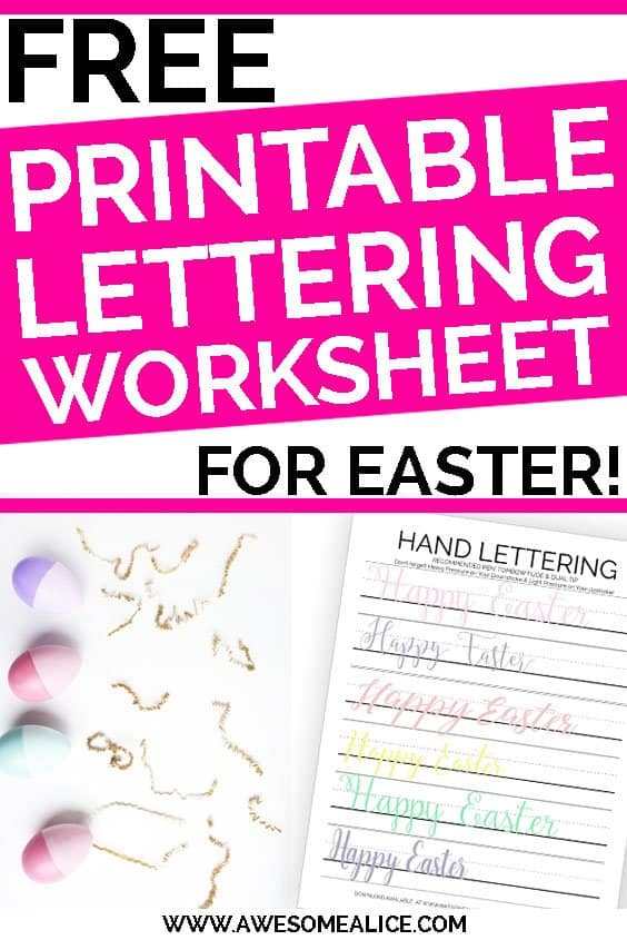 picture relating to Printable Lettering identified as Cost-free Delighted Easter Hand Lettering Prepare Sheet Incredible Alice