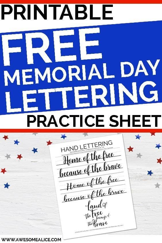 photo relating to Closed for Memorial Day Printable Sign referred to as Inspiring Hand Lettering Educate Sheet For Memorial Working day