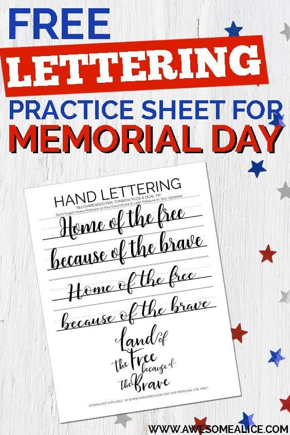 picture about Closed for Memorial Day Printable Sign referred to as Inspiring Hand Lettering Train Sheet For Memorial Working day