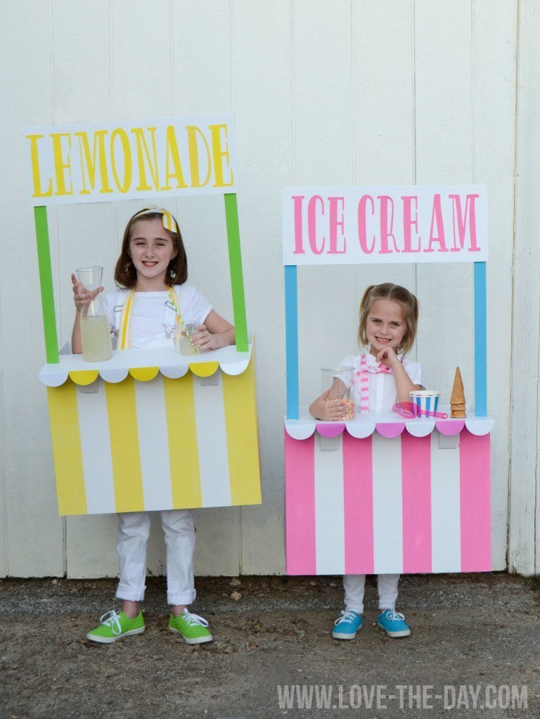 DIY Halloween Costumes for Kids - Lemonade and Ice Cream Stands