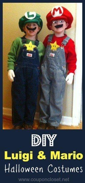 DIY Halloween Costumes for Kids - Luigi and mario