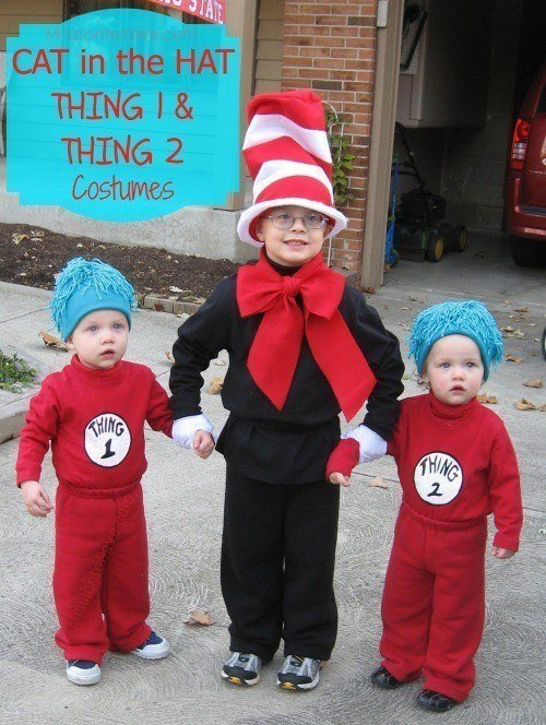 DIY Halloween Costumes for kids - Cat in the Hat Thing 1 and Thing 2