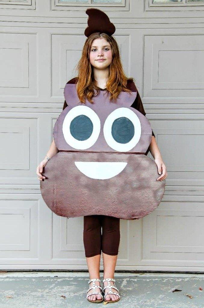 DIY Halloween Costumes for kids - Poop emoji