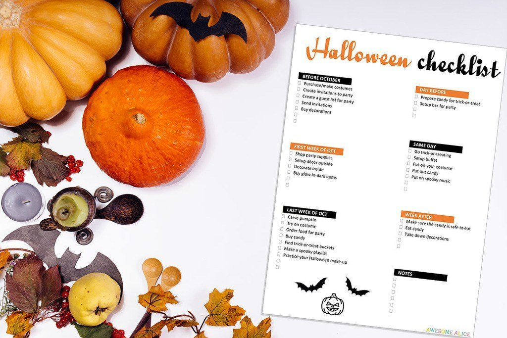 graphic about Printable Halloween Pic known as Totally free Halloween Listing that will Preserve Oneself Well prepared
