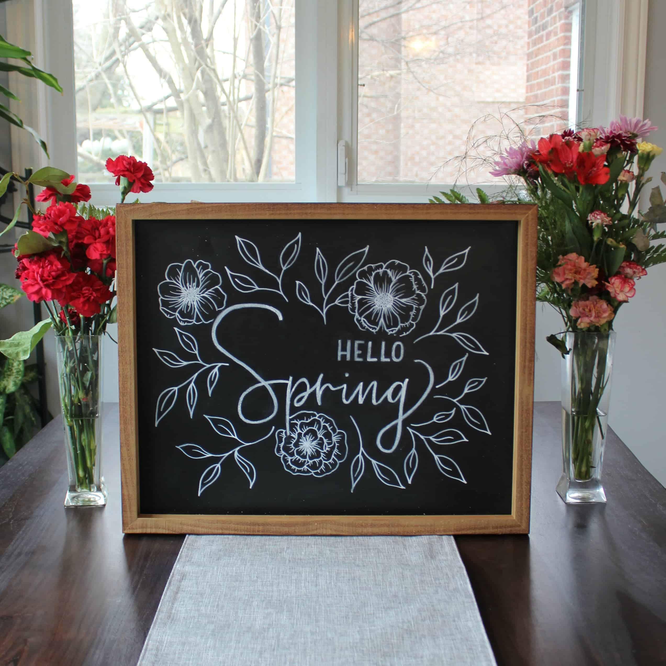 DIY Hello Spring Chalboard Sign